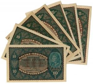 10 Marek Polskich 1919 seria II (7szt.)