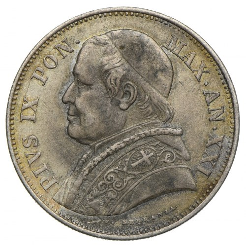 Watykan, Pius IX, 2 ½ lira 1867 R/Rzym