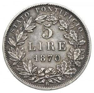 Watykan, Pius IX, 5 lirów 1870 R/Rzym