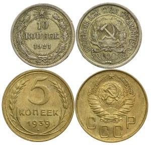 Rosja, zestaw 10 kopiejek 1921, 5 kopiejek 1939