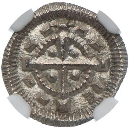 Węgry, Bela II (1131-41), denar, NGC MS65