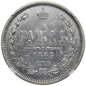 Rosja, Aleksander III, 1 rubel 1885 СПБ АГ, NGC AU DETAILS