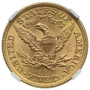 USA, 5 dolarów 1899, NGC MS63