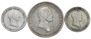 Królestwo Polskie, Aleksander I, zestaw 2 x 1 złoty, 5 złotych 1830 FH (3szt.)
