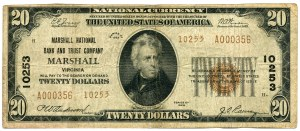 USA, 20 dolarów 1929 seria A, MARSHALL VIRGINIA