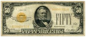 USA, 50 dolarów 1928 seria A, GOLD CERTIFICATE