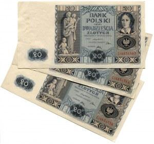 Zestaw 20 złotych 1936, seria C (3szt.)