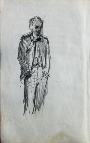 Stanisław Kaczor Batowski (1866-1945), Szkic młodego mężczyzny, stojącego z rękoma w kieszeniach