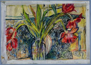 Janina Muszanka - Łakomska (1920-1982), Tulipany w szklanym słoju, 1975