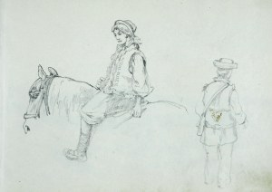 Tadeusz Rybkowski (1848-1926), Hucułka na koniu i Hucuł
