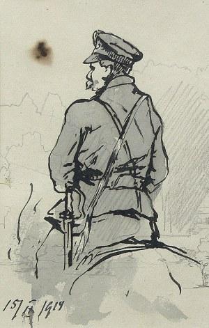 Tadeusz Rybkowski (1848-1926), Żołnierz Legionów Piłsudskiego w siodle - szkic, 1919