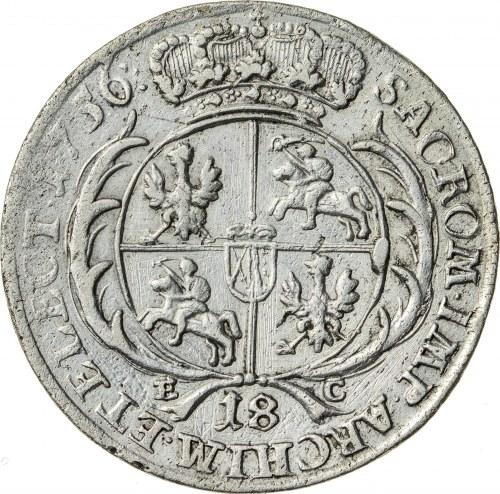 August III Sas (1733-1763), ort - tymf koronny, Lipsk; 1756