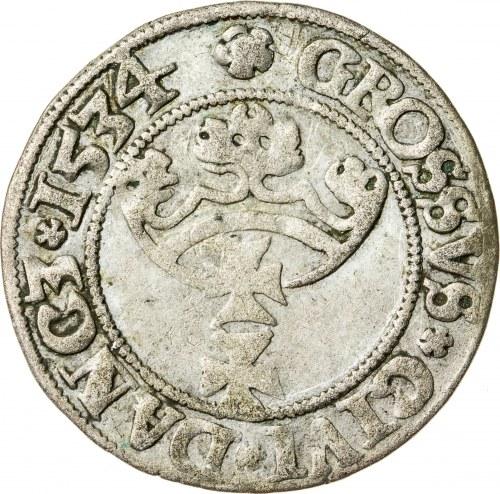 Zygmunt I Stary (1506–1548), grosz gdański, Gdańsk; 1534