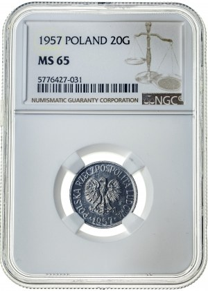 20 groszy 1957, MS 65