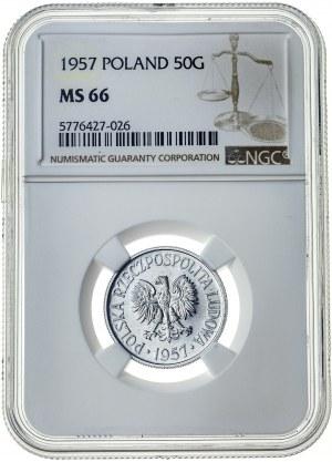 50 groszy 1957, MS 66