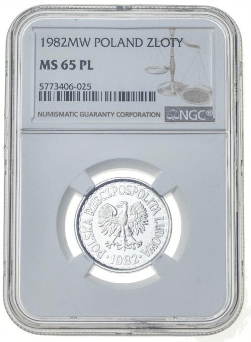1 złoty 1982, MS 65, proof like