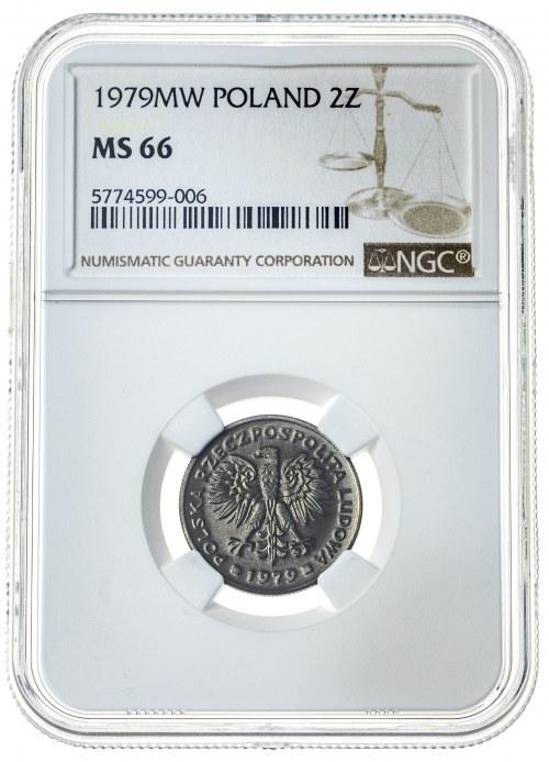 2 złote 1979, MS 66, mosiądz