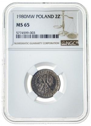 2 złote 1980, MS 65, mosiądz