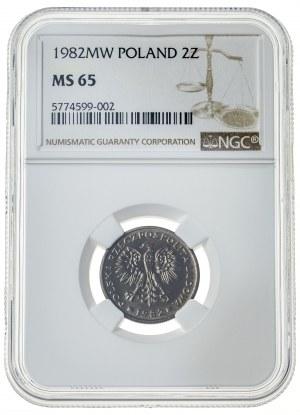 2 złote 1982, MS 65, mosiądz