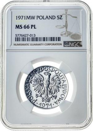 5 złotych 1971, MS 66 PL