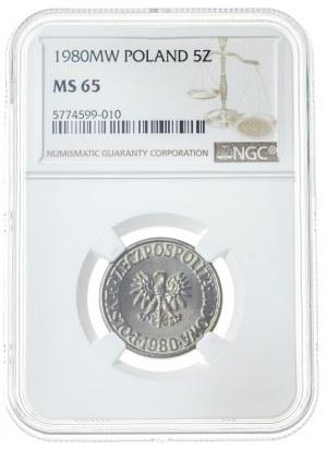 5 złotych 1980, MS 65, mosiądz