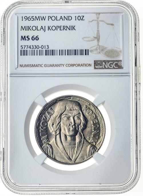 10 złotych 1965, MS 66, Mikołaj Kopernik
