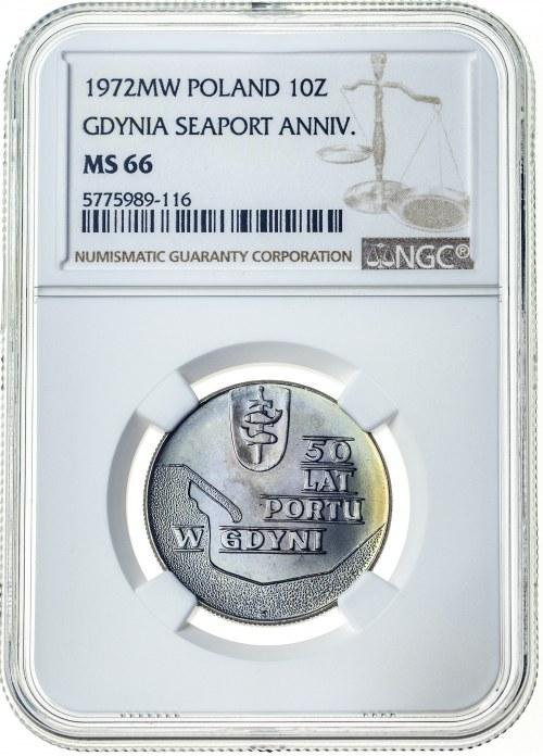 10 złotych 1972, MS 66, 50 lat portu w Gdyni