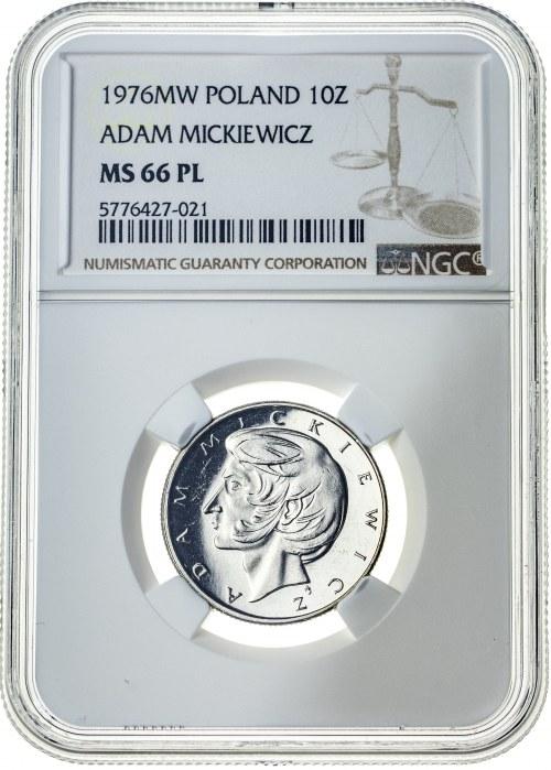 10 złotych 1976, MS 66 PL, Mickiewicz, 2ga NOTA ŚWIAT