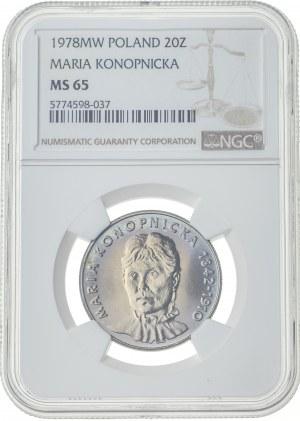 20 złotych 1978, MS 65, Maria Konopnicka