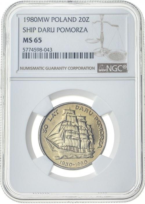 20 złotych 1980, MS 65, 50 lat Daru Pomorza
