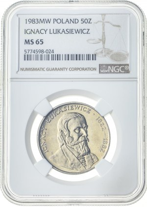 50 złotych 1983, MS 65, Ignacy Łukasiewicz