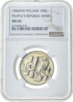 100 złotych 1984, MS 65, 40 lat PRL