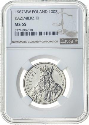 100 złotych 1987, MS 65, Kazimierz III Wielki