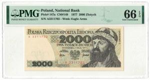 2 000 złotych 1977, Mieszko I, PMG 66 EPQ, 2ga NOTA ŚWIAT