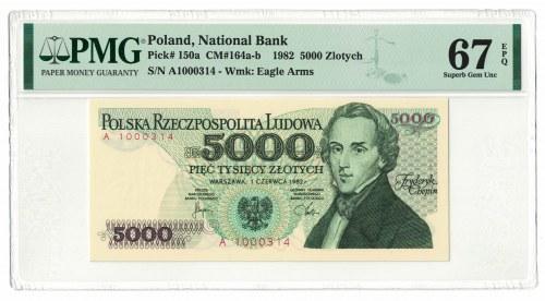 5 000 złotych 1982, Fryderyk Chopin, PMG 67 EPQ, seria A