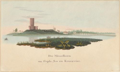 KRUSZWICA. Mysia Wieża nad Jeziorem Gopło w Kruszwicy, sygn. Becker, ok. 1840