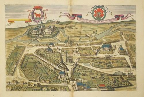 ŁOWICZ. Widok miasta z lotu ptaka, ryt. Frans Hogenberg, pochodzi z