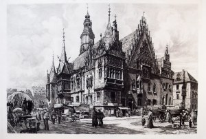 WROCŁAW. Ratusz miejski od południowego wschodu, akwf. z cyklu Alt Breslau