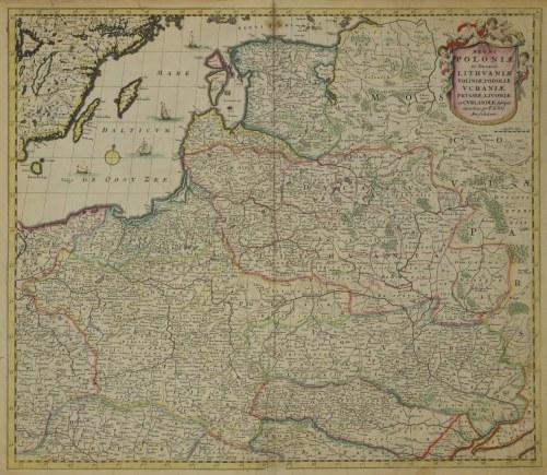 POLSKA, LITWA. Mapa Polski i Litwy, wyd. Frederick de Wit, Amsterdam