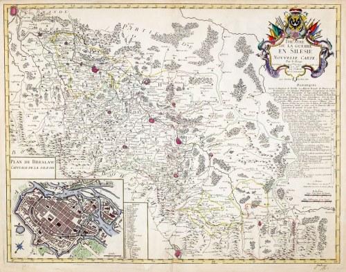 ŚLĄSK, WROCŁAW. Mapa Śląska w czasie I wojny śląskiej (1741-1742)