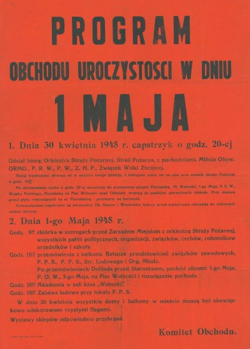GOSTYNIN. Plakat informujący o programie obchodów 1 Maja w 1948 r. w Gostyninie