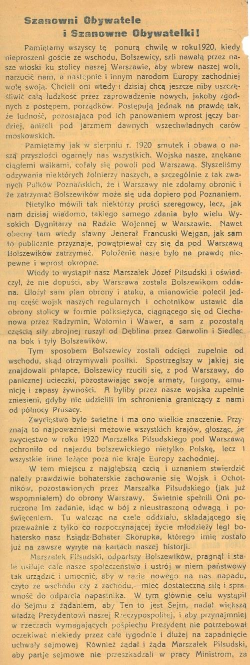 KORYTNO (powiat radomszczański). Druk ulotny, druk. Estetyczna Węgrów, ok. 1930