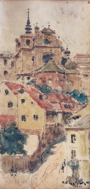 Tadeusz CIEŚLEWSKI (1870-1956), Widok na kościół św. Anny w Warszawie, 1936
