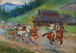Jerzy KOSSAK (1886-1955) - pracownia, Wesele góralskie, 1950