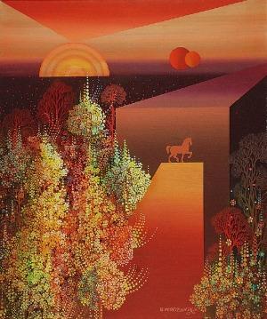 Henryk PŁÓCIENNIK (ur. 1933), Ogród czerwony, 1980