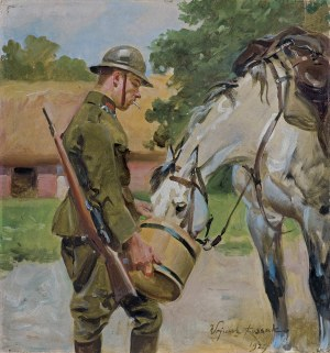Kossak Wojciech, ŻOŁNIERZ POJĄCY KONIA, 1927