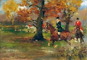 Jerzy KOSSAK (1886-1955), Polowanie par force, ok. 1950
