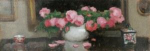 Alfons KARPIŃSKI (1875-1961), Róże w wazonie, puzderko i filiżanka