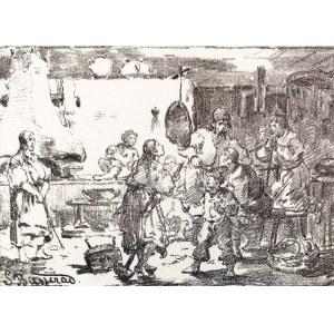 Seweryn BIESZCZAD (1852-1923), Scena wiejska,1881