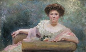 Kossak Wojciech, PORTRET PANI W FOTELU, 1909